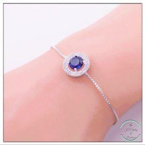 Jewelry - Silver Adjustable Bracelet with Cubic Zirconia